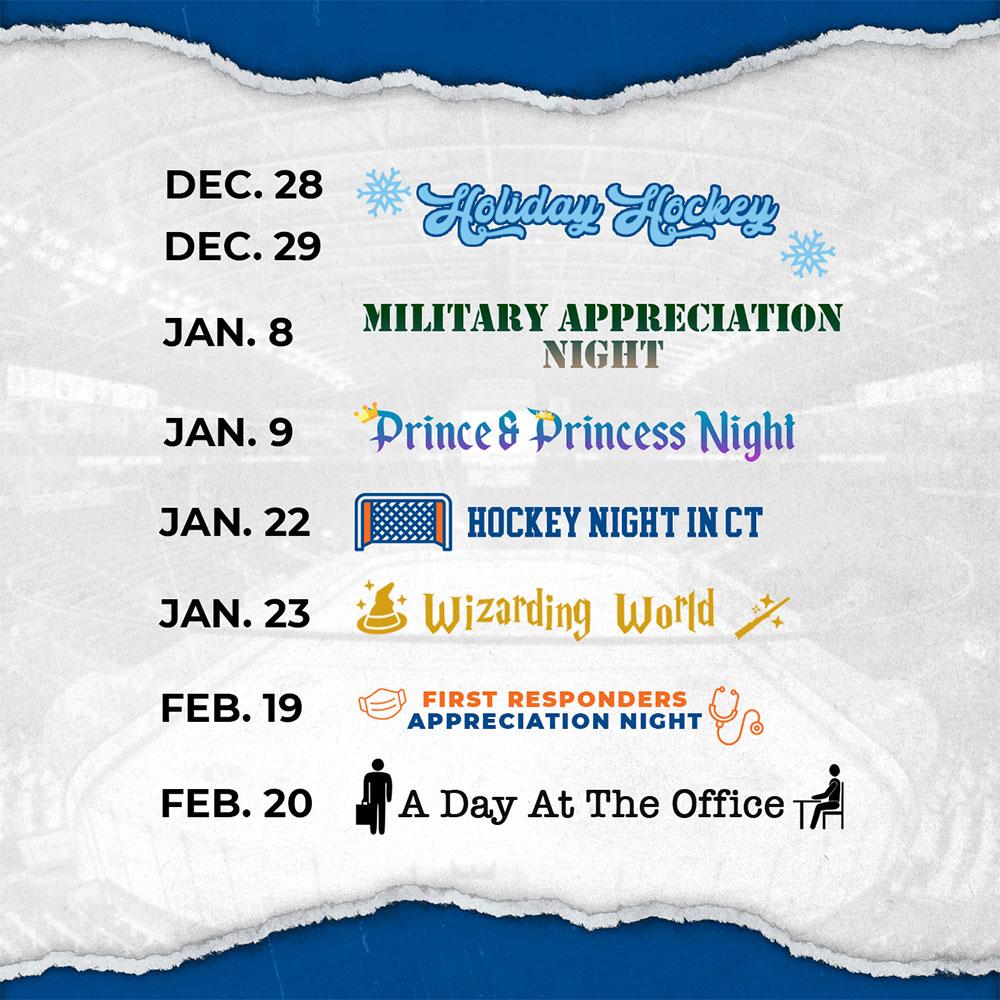 Bridgeport Islanders Dec-2021-Feb-2022 Promotion Schedule