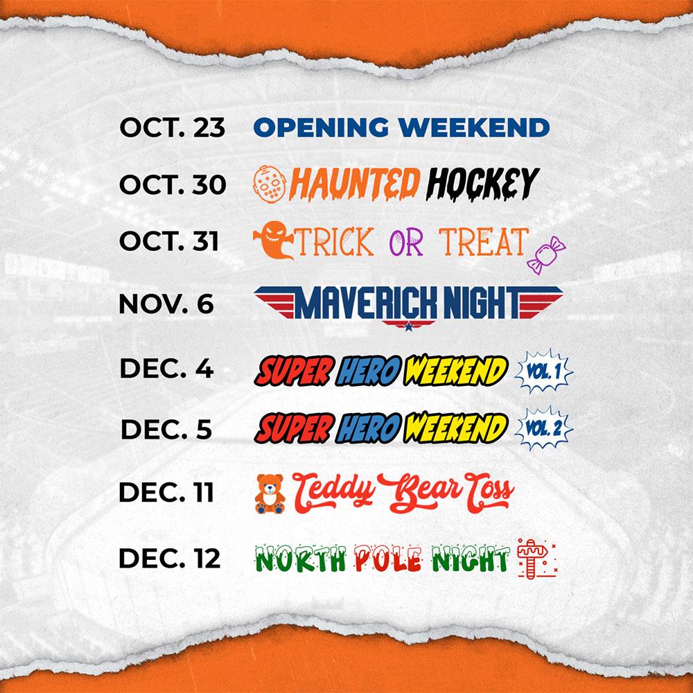 Bridgeport Islanders Oct-to-Dec 2021 Promotion Schedule