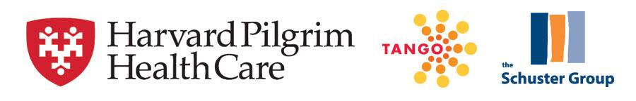 Harvard Pilgrim Health Care, Schuster Group, and TANGO logos