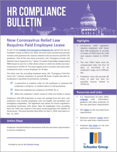 HR Compliance Bulletin - New Coronavirus Relief Law Requires Paid Employee Leave
