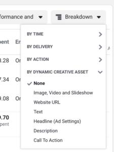 Dynamic ad creative breakdown in Facebook