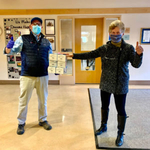 Rollin Schuster, Managing Principal of The Schuster Group, President and Founder of TANGO delivered a donation of PPE masks to CCARC CEO Anne Ruwet.